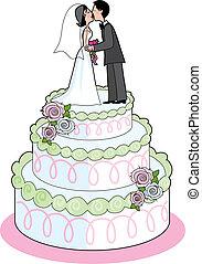 Wedding Cake - Couple kissing on top a wedding cake