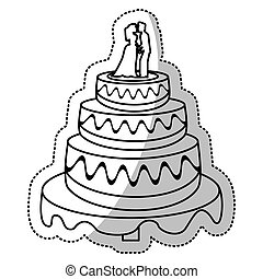 wedding cake couple outline