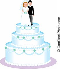 Couple standing on top a wedding cake