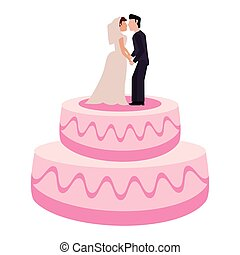 wedding cake couple sweet vector illustration eps 10