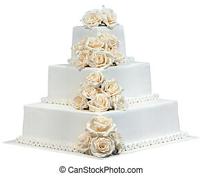 White Wedding Cake Isolated with Clipping Path
