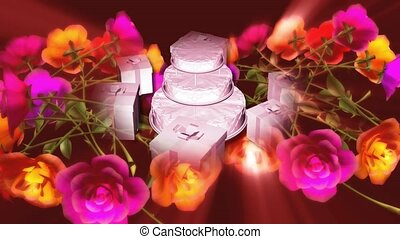 Wedding cake, gifts and flowers