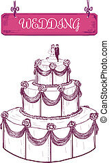 Wedding cake. Hand drawn illustration