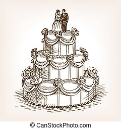 Wedding cake hand drawn sketch style vector - Wedding cake...