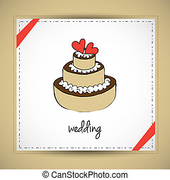 Wedding cake - Hand drawn vector illustration of wedding...