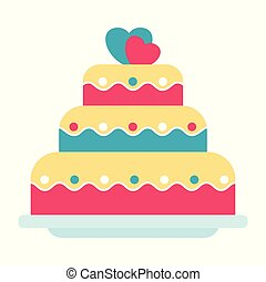 wedding cake icon - Flat vector festive wedding cake...