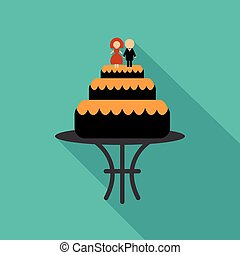 wedding cake icon image with silhouette of newlyweds