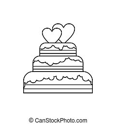 Wedding cake icon, outline style