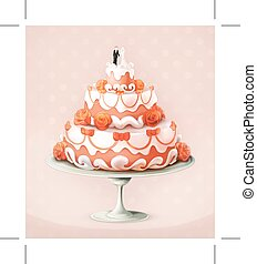 Wedding cake icon - Wedding cake  vector illustration icon