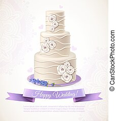 Wedding white cake with decorations wish and ribbon cartoon vector illustration