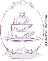 Wedding Cake in frame. Illustration in vector format