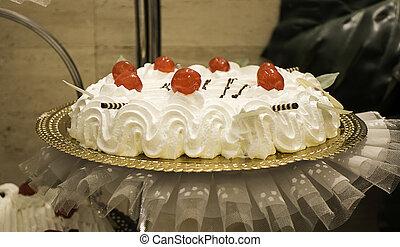 Wedding cake in restaurant