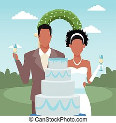 Wedding cake, just married couple and floral arch over landscape background