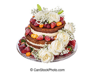 Celebratory chocolate cake with flowers of roses on a white
