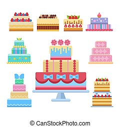 Wedding cake pie sweets dessert bakery flat simple style isolated vector illustration.