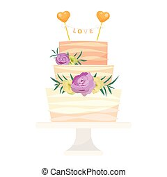 Wedding cake pie vector hand drawn style sweets dessert bakery ceremony delicious dessert sweet pastry illustration.