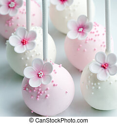 Wedding cake pops in pink and white