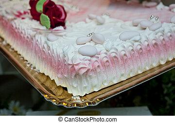 Wedding Cake - Rose wedding Cake on tray