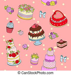 Wedding cake set vector illustration wed celebration birthday party cake decorations cream dessert with flowers for marriage seamless pattern background