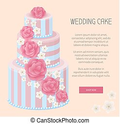 Wedding Cake Shop Now Webpage Vector Illustration
