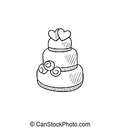 Wedding cake sketch icon.