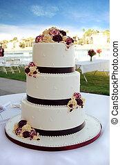 Wedding Cake - Beautiful White and Burgundy Wedding Cake...