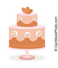 Wedding Cake Vector Illustration in Flat Design