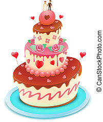 wedding cake - Vector illustration of a wedding tiered cake...