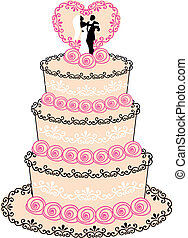 wedding cake with couple, heart and roses, vector illustration
