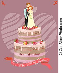 Wedding cake with bride and groom vector illustration, greeting card