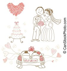 wedding cake with butterflies, happy bride and groom, heart made of roses, just married on car, balloons. cartoon vector illustration