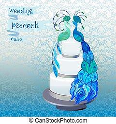 Wedding cake with couple peacocks. Blue, green vector design.
