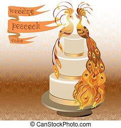Wedding cake with couple peacocks. Golden, orange yellow design.