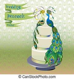 Wedding cake with couple peacocks. Green vector design.