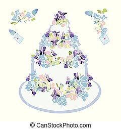 Wedding cake with flower and butterfly.