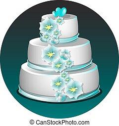 White wedding cake with blue flowers isolated