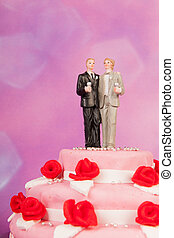 Wedding cake with gay couple