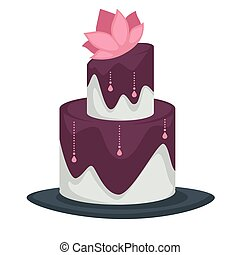 Wedding cake with layers and lotus flower purple topping and icing