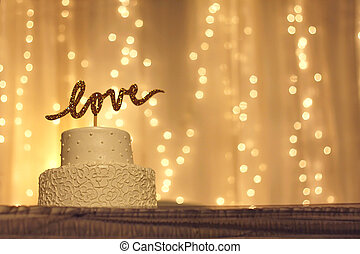 Wedding Cake with LOVE Topper - a simple white wedding cake...