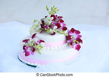 Wedding Cake with Orchids
