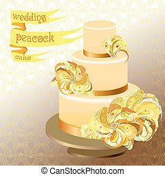 Wedding cake with peacock feathers. Golden yellow design.