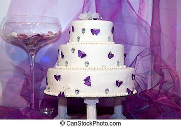 Wedding cake with purple butterflies
