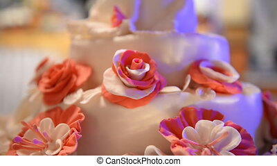 Wedding cake with roses close up