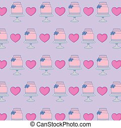 wedding cakes and hearts background