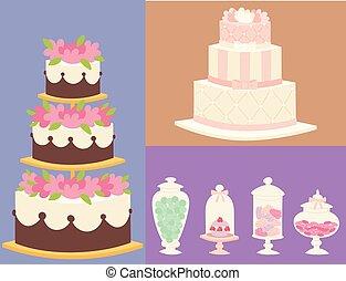 Wedding cakes fresh tasty dessert sweet pastry pie card gourmet homemade delicious cream traditional bakery tart vector illustration.