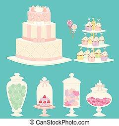 Wedding cakes fresh tasty dessert sweet pastry pie gourmet homemade delicious cream traditional bakery tart vector illustration.
