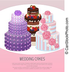 Wedding Cakes Poster Text Vector Illustration