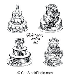 Wedding cakes set