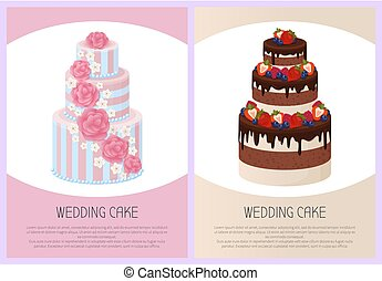 Wedding Cakes Set Sweet Bakery Posters Vector Set