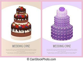 Wedding Cakes Set Sweet Bakery Posters Vector Text